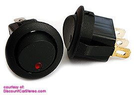 RRSW1L illuminated Round Rocker SPST Switch