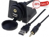 3.5-USB Universal Dash Mount USB with 3.5mm Aux Extension Cable