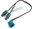 FK2M Dual Fakra Male to Single Female Splitter Cable