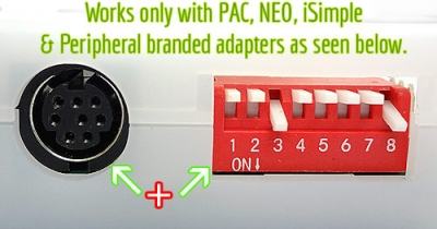 for adapters with 8-pin connector and dip switches