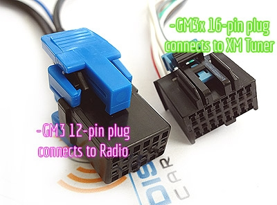 aux-gm3x connects to xm tuner location (not radio)