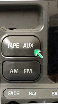 Tape player with aux button